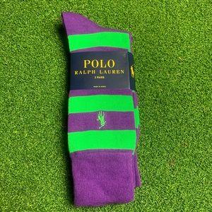 Ralph Lauren Stripe Rugby / Solid 2 Pair Socks
